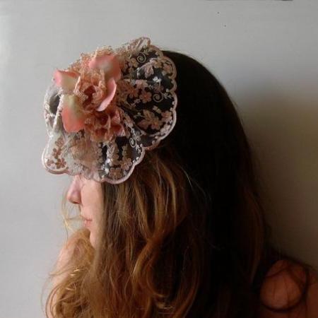 Pink Bridal hair flower Wedding hairpiece accessory ,lace flower fascinator veil
