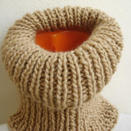 Unisex Hand Knit Cowl Pastel Earth colour Camel Soft Neckwarmer Tube Scarf Winter Hood