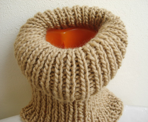 Tube Cowl Knitting Pattern : Unisex Hand Knit Cowl Pastel Earth Colour Camel Soft Neckwarmer Tube Scarf Wi...